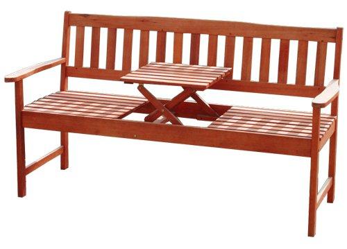 KMH®, 3-sitzer Gartenbank (160 cm) aus Eukalyptusholz (mit integriertem, einklappbarem Tisch) (#101909)
