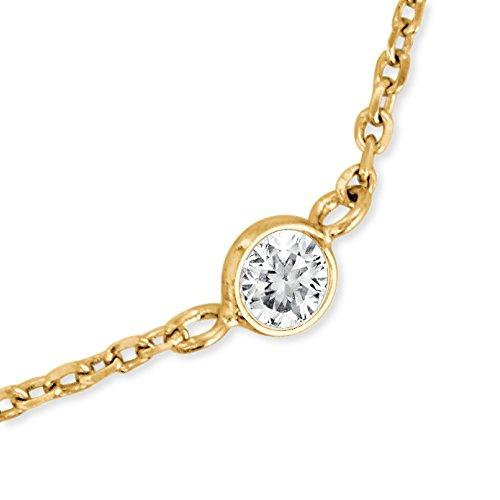 Engelsrufer Moonlight Armband für Damen Gelbvergoldet 925er-Sterlingsilber Weiße Zirkonia Länge 16 cm + 2 cm