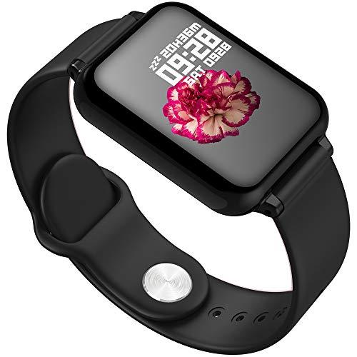 and you Fitness-Armband Pulsmesser Wasserdicht IP67 Fitness-Tracker Smart Watch Activity Tracker Pulsmesser Schrittzähler Uhr Herren- Und Damen-Sportuhr,Black