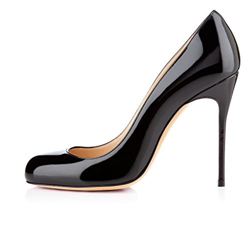 EDEFS Femmes Artisan Fashion Escarpins Classiques Lady Délicats Bout Ronds Chaussures à talon aiguille de 100mm Travail Bureau Boue Noir
