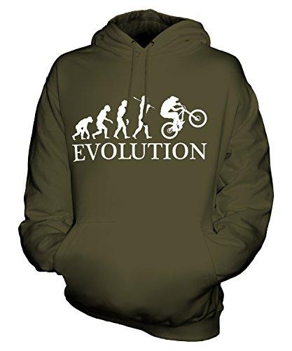 CandyMix Downhill Mountainbike Evolution Des Menschen Unisex Herren Damen Kapuzenpullover, Größe Medium, Farbe Khaki Grün
