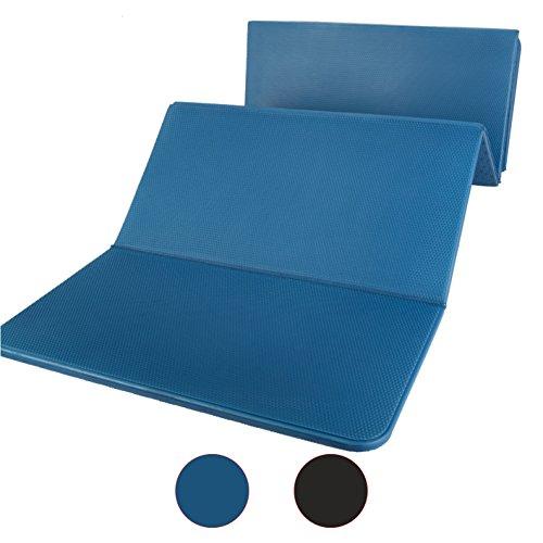 Gymnastikmatte Faltbar 180 cm PVC Frei, Blau oder Schwarz Yogamatte (Blau)