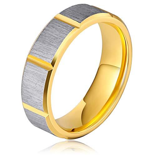 Gnzoe gioielli - uomo anello di fidanzamento in acciaio inox reticolo rettangolare oro 5mm misura 27