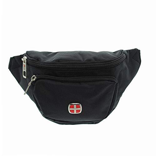 Mia-emblem (IO.IO.MIO Bauchtasche Nylon Hip Bag Hüfttasche Gürteltasche Wandern Alltag Reise wasserabweisend schwarz)