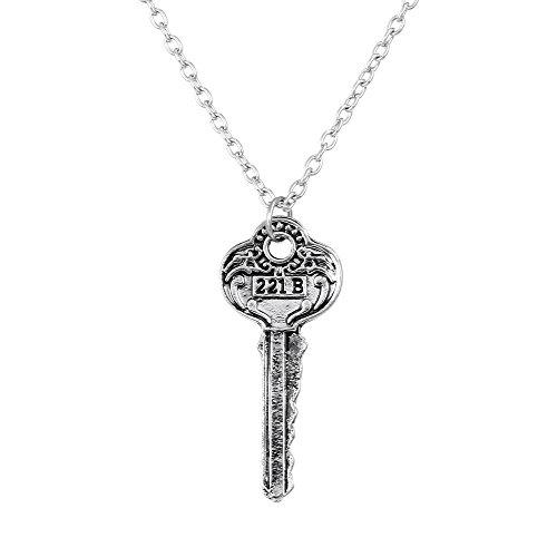 Lureme Film Schmuck Sherlock 221B Schlüssel Anhänger Halskette für Fans-Antique Silber (nl005455-1)