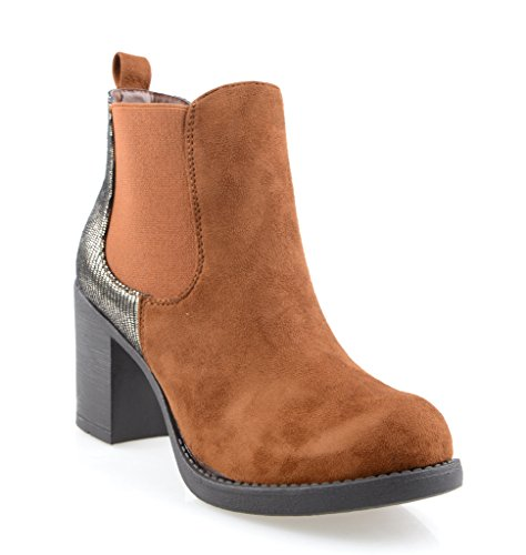 Eyekepper Damenmode elastischen Platten Beleg auf Chunky Heel Ankle Boot TAN Petwer