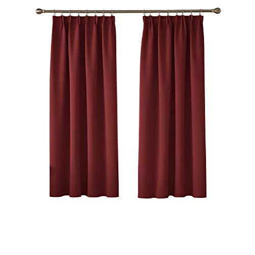 Deconovo Verdunkelungsvorhang Vorhang mit Kräuselband Gardinen Schlafzimmer Vorhänge 160x132 cm Rot 2er Set