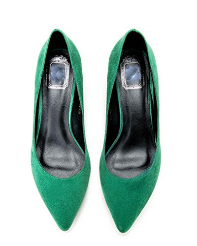 CAMSSOO - Punta appuntita donna green velveteen