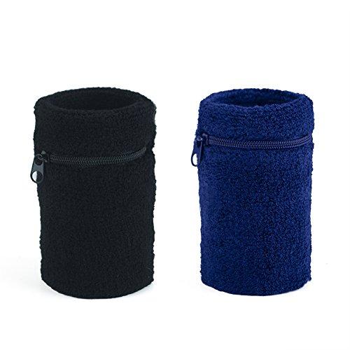 GOGO Reißverschluss Schweißband Armbandes, Mehrzweck Sport Armbandes, Paar, Herren, Black 1 Navy 1 (Navy Schweißbänder)