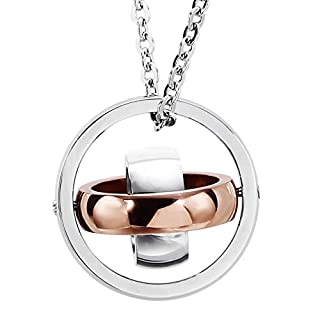 Beydodo Stainless Steel Necklace Men Thtee Circles Rose Gold,Size:2.2x2.2CM Wedding Necklaces for Women