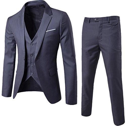 Sunshey Herren Anzug 3-Teilig Slim Fit Anzugsjacke Anzugsweste Anzugshose ein knopf Muster, Dunkelgrau, DE 2XL/China 5XL