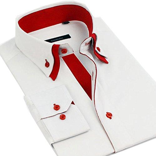 Lyon Becker® Chemises pour hommes coupe Slim Fit design italien, habillées et décontractées, manches longues, Tailles S M L XL White-Red DC01