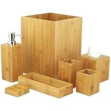 Badset Badezimmer Set Bambus Seifenspender Wc Garnitur MK Bamboo LONDON Bad  Accessoire Set (7