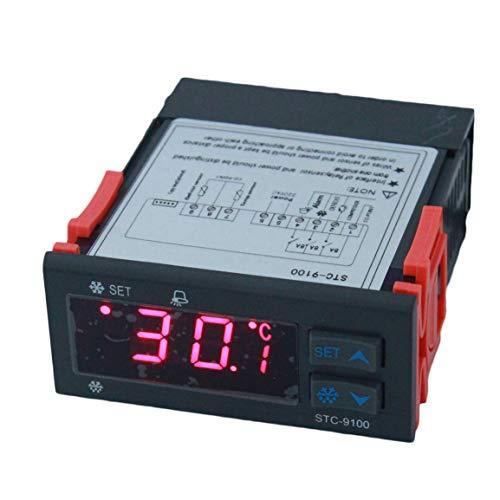 Garciadia STC-9100 iIntelligenter Temperaturregler Kälte Abtaualarmausgang Doppelsensor Thermoregulator Thermometer (Farbe: schwarz) -