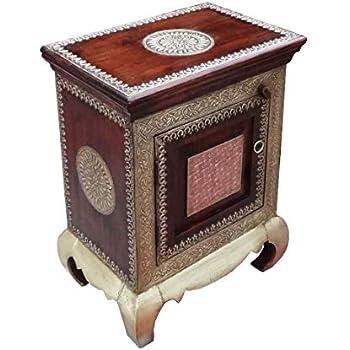 Orientalischer Holz Nachttisch 60cm Hoch | Orient Vintage