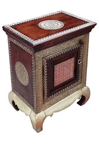 Orientalischer Holz Nachttisch Kalpana Dunkel Holz Messing 60cm Hoch | Orient Vintage Nachtkommode orientalisch handverziert | Indischer Nachtschrank auch für Boxspringbett | Asiatische Möbel aus Indien
