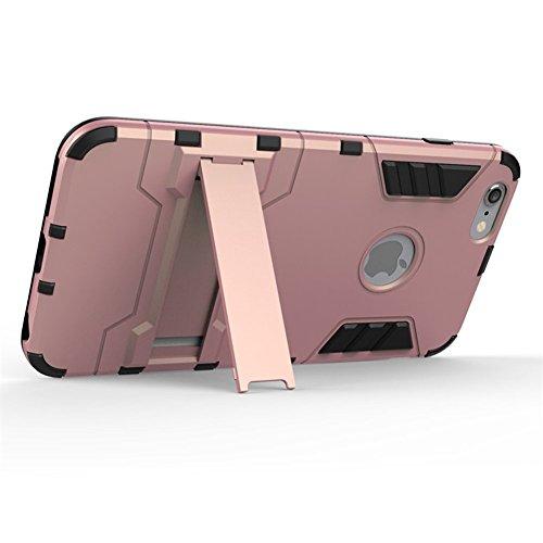 iPhone 6/6S/6plus/6S Plus Étui avec support béquille, unique Armour Coque hybride souple et rigide antichoc Bumper slim Protection d'écran robuste intégrale pour Mobile, plastique, rose