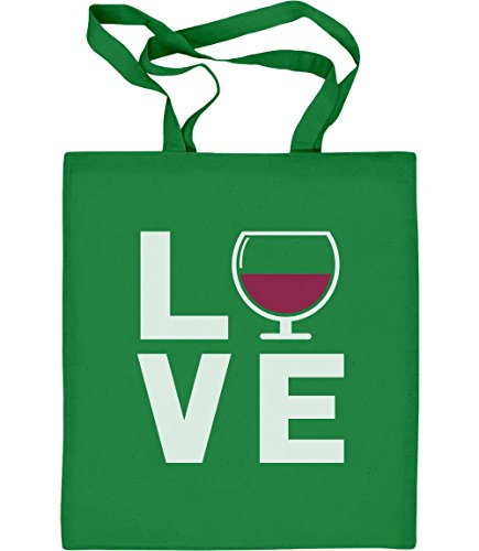 Green Turtle T-Shirts Love Wine - Geschenkidee für Wein - Fans Jutebeutel Baumwolltasche One Size Grün (Traubensaft Für Wein)
