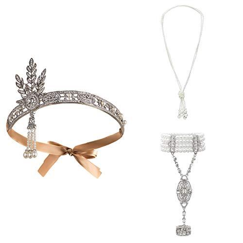 Metme 1920er Jahre Zubehör Set Flapper Roaring 20s Stirnband Ohrringe Perlen Halskette Kostüm für Damen Silber