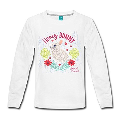 Spreadshirt Animal Planet Too Cute Häschen Honey Bunny Kinder Langarmshirt, 134/140 (8 Jahre), Weiß (Kaninchen Animal Planet)