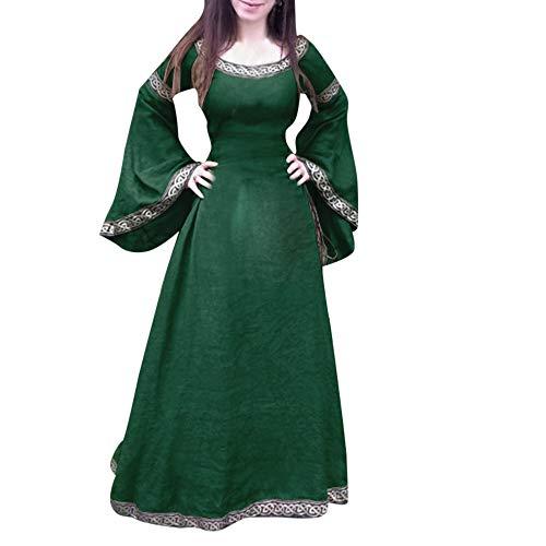 Xmiral Damen Mittelalterliches Kleid Unregelmäßige Lange Ärmel Cosplay Maxi Kleider Kostüm für Karneval, ()