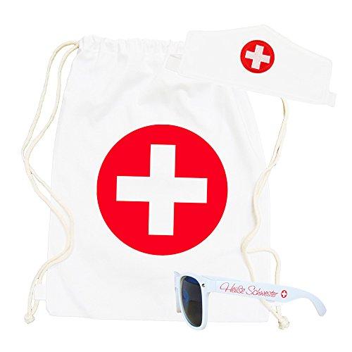 Partybob Krankenschwester Kostüm Accessoires - 3-teiliges Set (3 Teiliges Krankenschwester Outfit Kostüm)