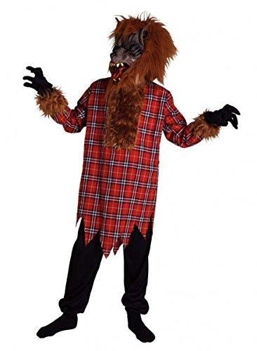 Kinderkostüm Wolf, Halloweenkostüm mit Latex-Wolfsmaske , Größe:140