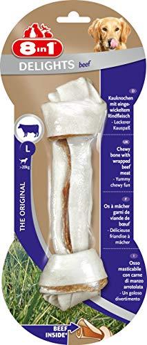 8in1 Delights Beef Kauknochen L, gesunder Kausnack für große sensible Hunde, 1 Stück (85 g) -