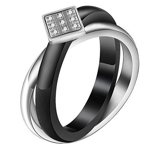 Horizonc Micro-Intarsien Zirkon Damenring Titan Stahl Kreuz Schwarz Keramikring Klassiker Ring -