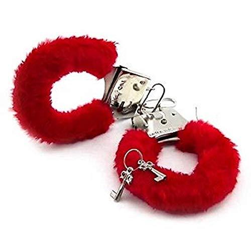 Festiko Furry Fuzzy Handcuffs Soft Metal Handcuffs Bachelorette Night Party Handcuffs(Red)