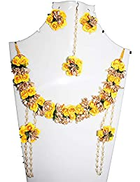 Flower Jewellery (Yellow & Gold), 6 Items Set For Women & Girls (for Mehandi/HALDI/Wedding/Bridal) (K20)