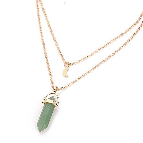 OBSEDE-Frauen-Natural-Healing-Quartz-Stone-Anhnger-Gloden-Doppel-Schichten-Halsband-Halskette