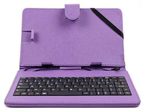 Violette Schutzhülle Etui Tasche Case aus Premium Lederimitat mit integrierter Tastatur / Keyboard für Odys Xelio PhoneTab 7 | Junior Tab 8 Pro | Syno (X610111) | Maven 7 | Mira | Orbit LTE | Pro Q8 | Xelio Phone Tab 3 LTE Tablets - FRANZÖSISCHE Belegung