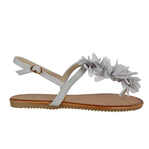 Stiefelparadies Damen Dianetten Blumen Sandalen Zehentrenner Sommer Flats Beach Zierperlen Schuhe 130770 Hellgrau Creme 36 Flandell