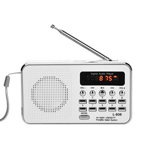 Bobopai Portable Radio Speaker FM/AM Radio Digital Mini Speaker Music MP3 Player AUX USB TF LED Light White