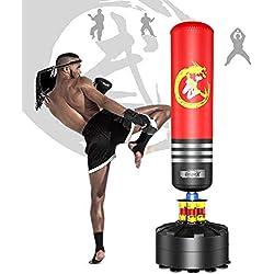 Dripex Sac de Frappe sur Pied Adulte Sad de Box Autoportant Lourd Stable Kickboxing Bon Cadeau d'adulte ou d'adolescent