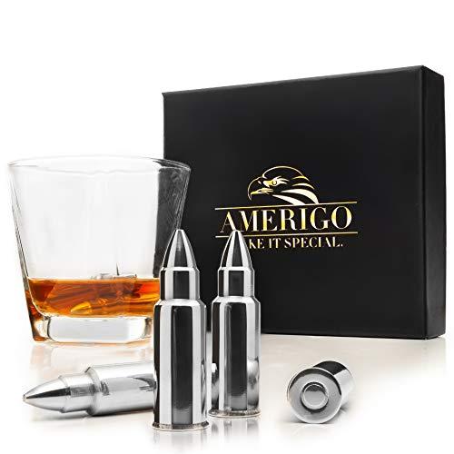 Amerigo Forma de Bala Whisky Piedras Set de Regalo de Acero Inoxidable...