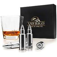 Amerigo Forma de Bala Whisky Piedras Set de Regalo de Acero Inoxidable - Alta Tecnología de Refrigeración - Whiskey Stones Bullet Gift Set - 6 Cubitos de Hielo Reutilizables para Whiskey + Pinzas