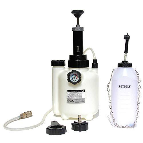 elektrisches bremsenentlueftungsgeraet ROTOOLS Bremsenentlüfter Bremsenentlüftungsgerät + Auffangflasche für Bremsflüssigkeit + E20 Adapter