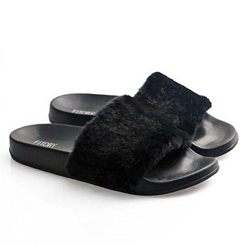 Fitory Damen Hausschuhe Plüsch Süße  Weiche Indoor/Outdoor Pantoffeln mit Pelz Rutschfeste, US 7-8=EU 38-39=UK 5-6, Schwarz Frauen Slider Sandalen