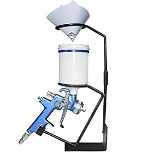Shoze Spray Gun Holder Stand Bench Mounted With Gravity Paint Filter Cradle