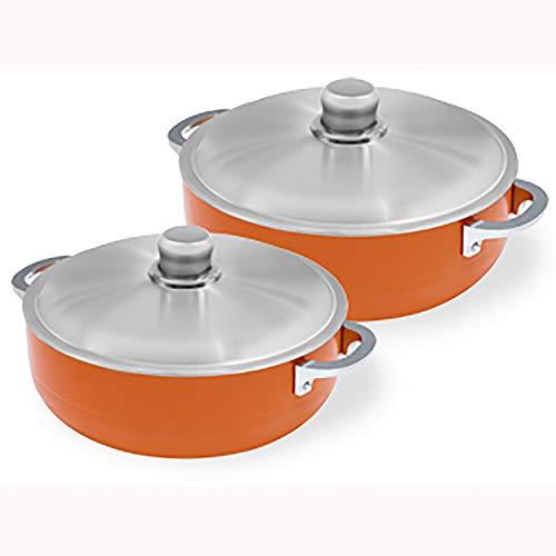 IMUSA USA CHI-80678 2 Piece Orange Caldero (Dutch Oven Set) with Aluminum Lid 4.4Qt, 6.9Qt Caldero Set