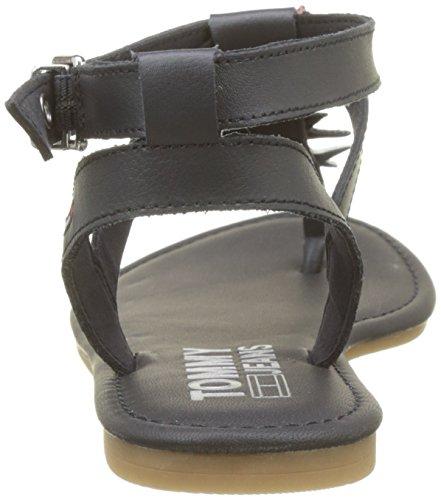 Damen 403 Blau Midnight Spangen Denim Hilfiger Badge T Sandal Flat Glitter g5qwUf
