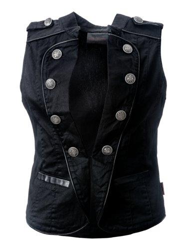 Queen of Darkness, Schwarze Uniform Weste mit Knopfleiste Schwarz