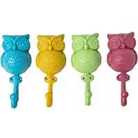 Colorful Owl Decorative Wall Hooks - Set of 4 Cast Iron Owls that will keep your Keys, Coats, Towels or Bags in Place Every Time - Owl Wall Décor Gifts - Screws and Anchors Included