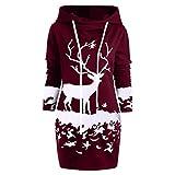 Luckycat Damen Christmas Monochrome Reindeer Bedrucktes Minikleid Mit Kordelzug Abendkleider Cocktailkleid Partykleider Blusenkleid Mode 2018