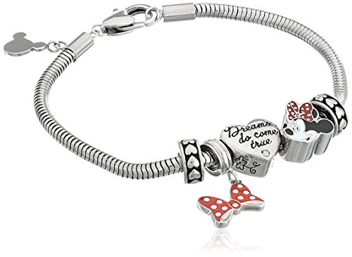 Disney-Minnie-Mouse-Stainless-Steel-Bead-Bundle-Charm-Bracelet-7