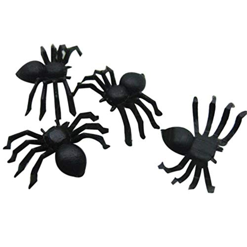 sunnymi 200 stücke Halloween Mini Kunststoff Schwarz Leuchtende Spinne Streich Scherz Geburtstag Spielzeug DIY Dekorative Spinnen 2 cm Spider Party Requisiten (Schwarz, 20pcs)