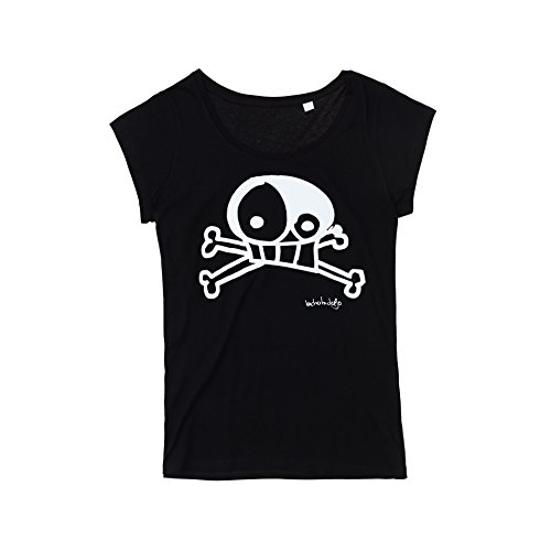 BICHOBICHEJO Camiseta Ecológica Mujer Calavera, T-Shirt Donna, Nero, 42
