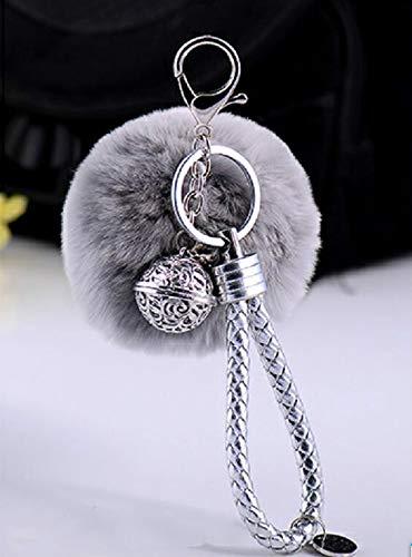 Llavero de felpa suave con diseño de campanilla de palacio, llavero colgante para coche (gris)